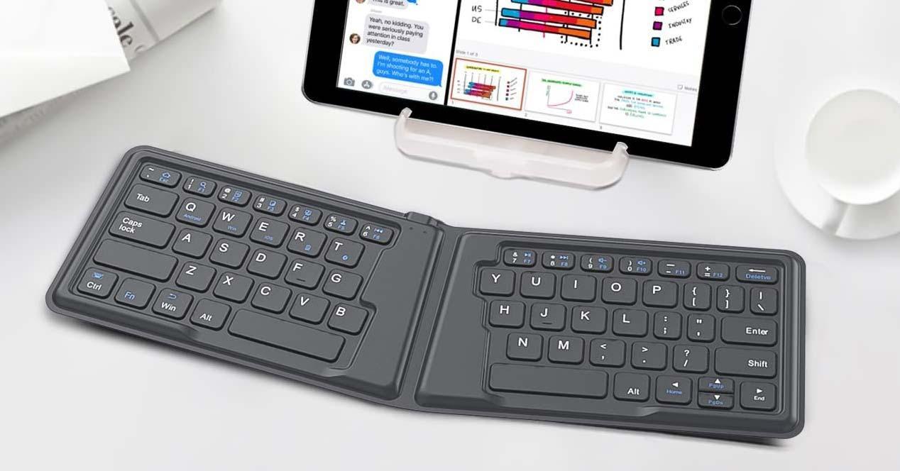 Uso de teclado plegable