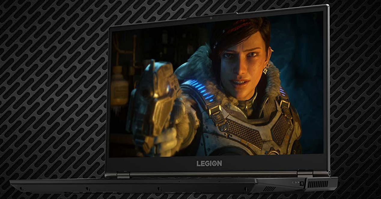 Portátil gaming Lenovo con fondo