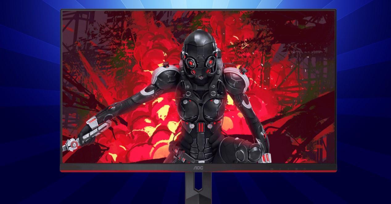 monitor gaming y fondo azul