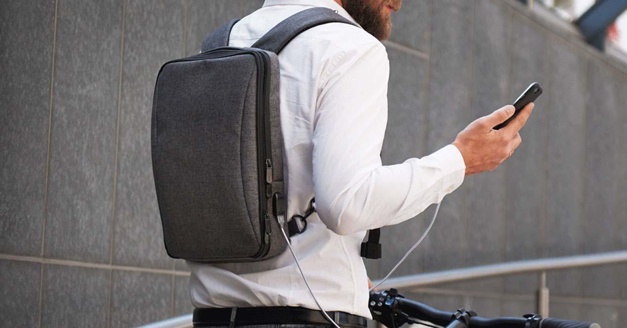 Uso de una mochila para portátil