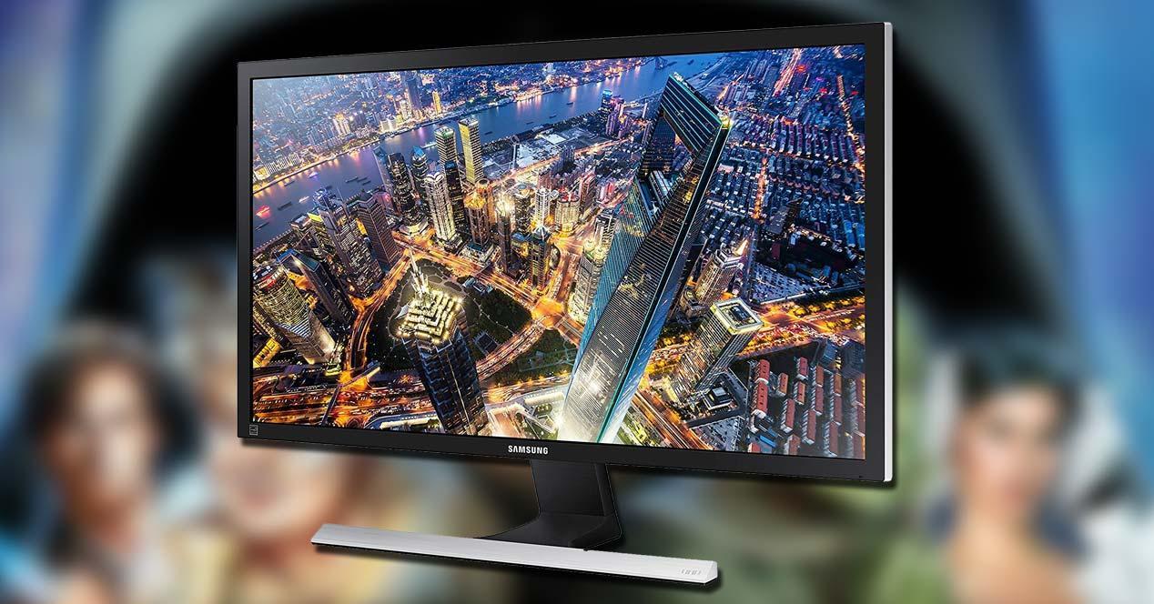 Monitor Samsung U28E590D con fondo