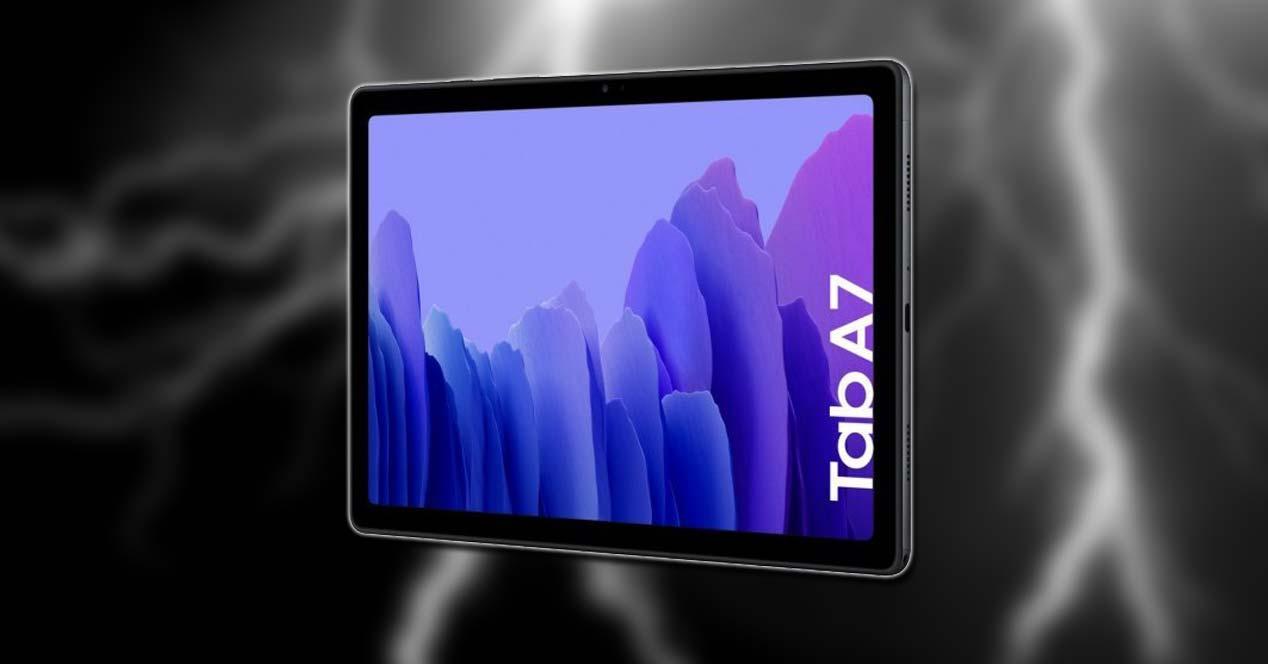 Samsung Galaxy Tab A7 con fondo