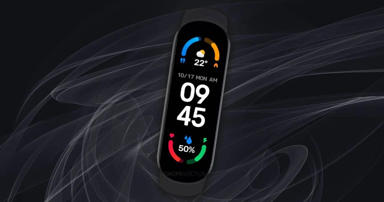Xiaomi Mi Band 6 con fondo negro