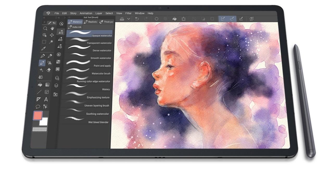 galaxy-tab-s7 y un dibujo