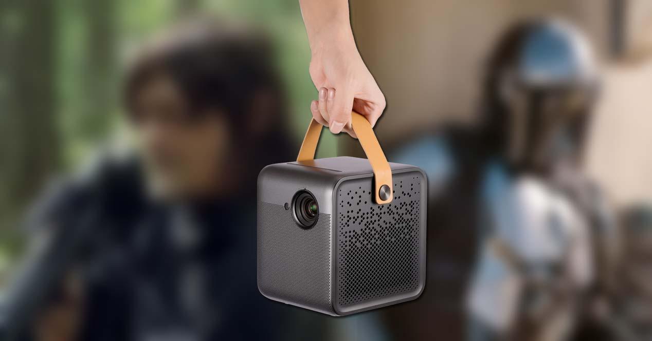 proyector Formovie de WeMax con asa y fondo