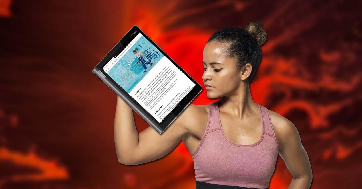 Tablet Lenovo Yoga Smart Tab con fondo y chica
