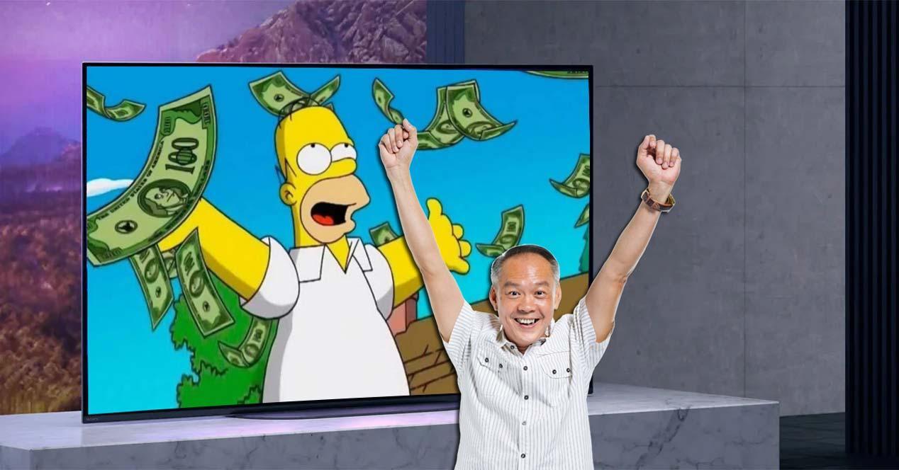 Smart TV Sony KE48A9BAEP con fondo y Simpsons
