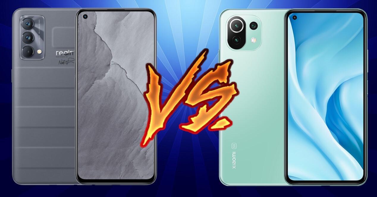 Realme GT Master Edition vs Xiaomi Mi 11 Lite 5G con fondo